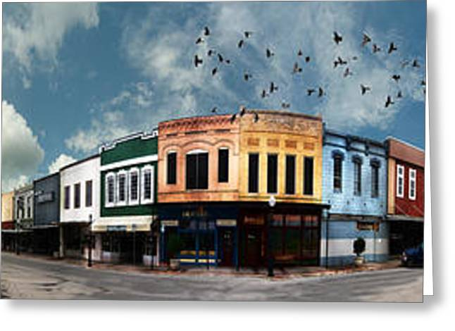 360 Greeting Cards - Downtown Bryan Texas Panorama 5 to 1 Greeting Card by Nikki Marie Smith
