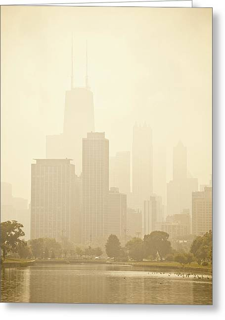 Best Sellers -  - Nature Center Pond Greeting Cards - Downtown Chicago in Mist Greeting Card by Andria Patino