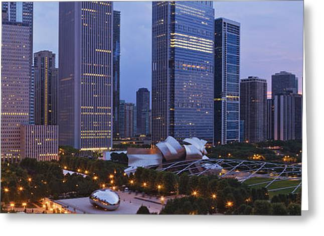 Office Space Greeting Cards - Downtown Chicago Overlooking Millennium Park at Dawn Greeting Card by Jeremy Woodhouse