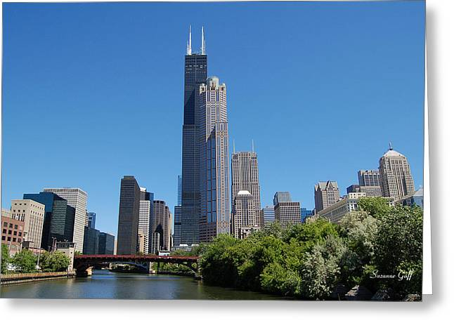 River View Greeting Cards - Downtown Chicago Skyline - View Along the River Greeting Card by Suzanne Gaff