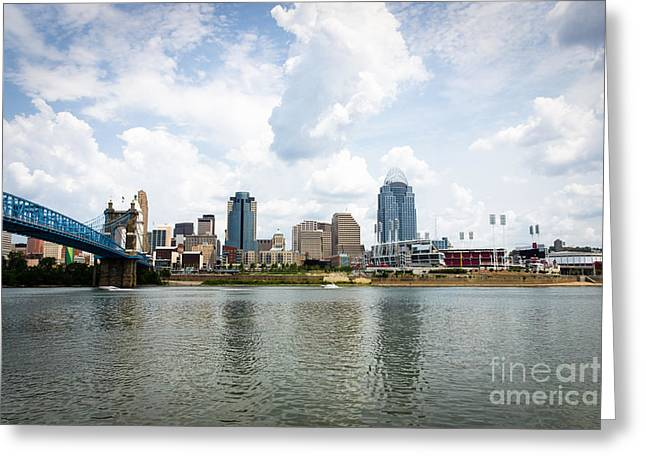 Downtown Cincinnati Skyline Buildings Greeting Card by Paul Velgos