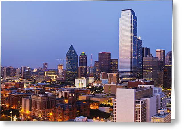 Office Space Greeting Cards - Downtown Dallas at Dusk Greeting Card by Jeremy Woodhouse
