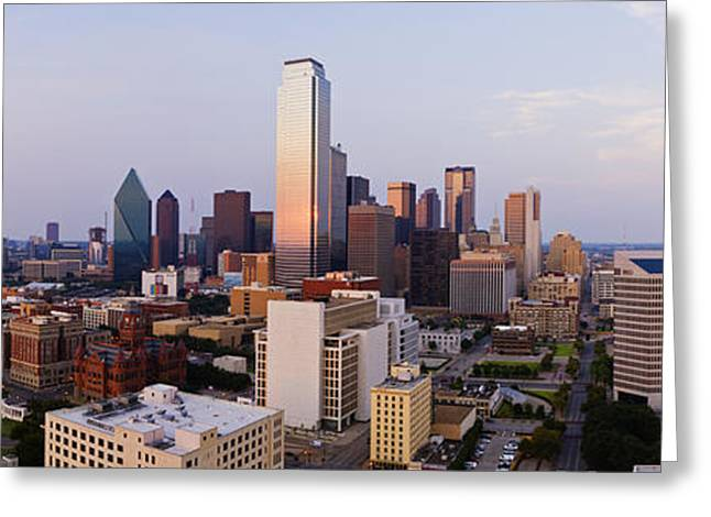 Office Space Greeting Cards - Downtown Dallas at Sunset Greeting Card by Jeremy Woodhouse