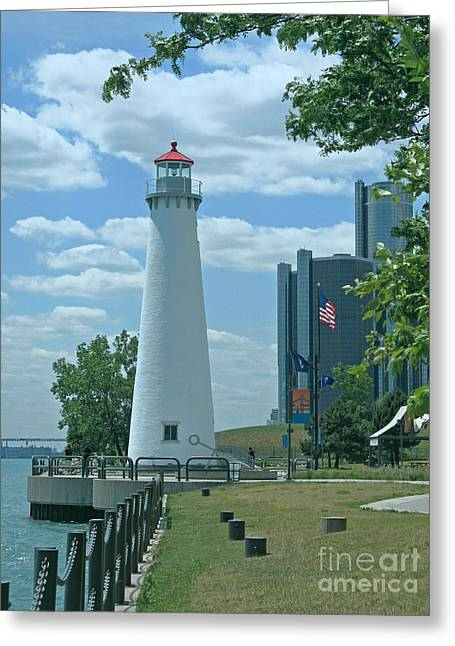 Renaissance Center Greeting Cards - Downtown Detroit Lighthouse Greeting Card by Ann Horn