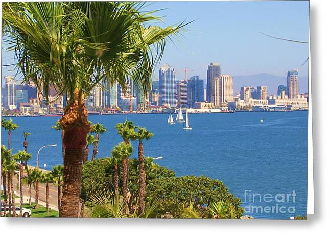 Sailboat Ocean Greeting Cards - Downtown Diego Greeting Card by ORREs PhotoArt