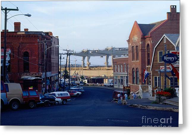 Buildings In The Harbor Greeting Cards - Downtown Eastport Maine Greeting Card by Geri Harkin-Tuckett
