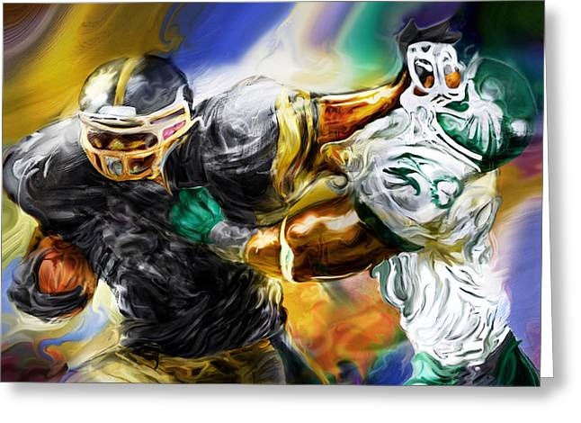 Footballs Greeting Cards - Downtown Express Greeting Card by Mike Massengale