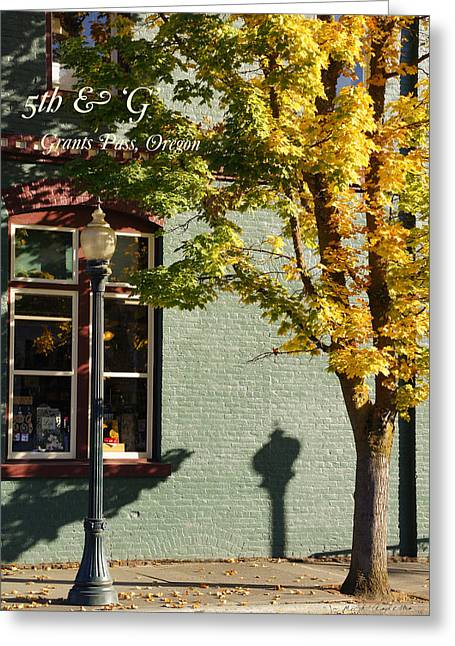 Green And Yellow Greeting Cards - Downtown Grants Pass Detail with TEXT Greeting Card by Mick Anderson
