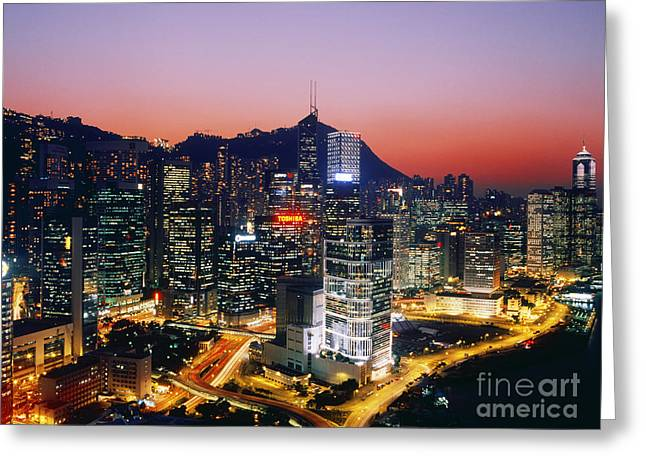 Office Space Photographs Greeting Cards - Downtown Hong Kong at Dusk Greeting Card by Jeremy Woodhouse