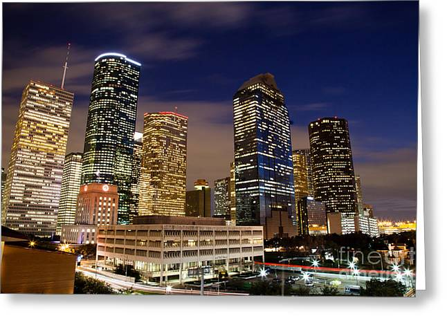 Texas Architecture Greeting Cards - Downtown Houston at night Greeting Card by Olivier Steiner