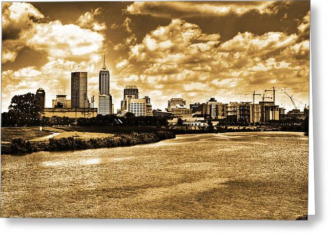 Indiana Landscapes Digital Art Greeting Cards - Downtown Indianapolis Skyline Dark Toned Greeting Card by David Haskett