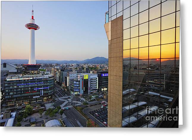 Kyoto Greeting Cards - Downtown Kyoto at Sunset Greeting Card by Jeremy Woodhouse