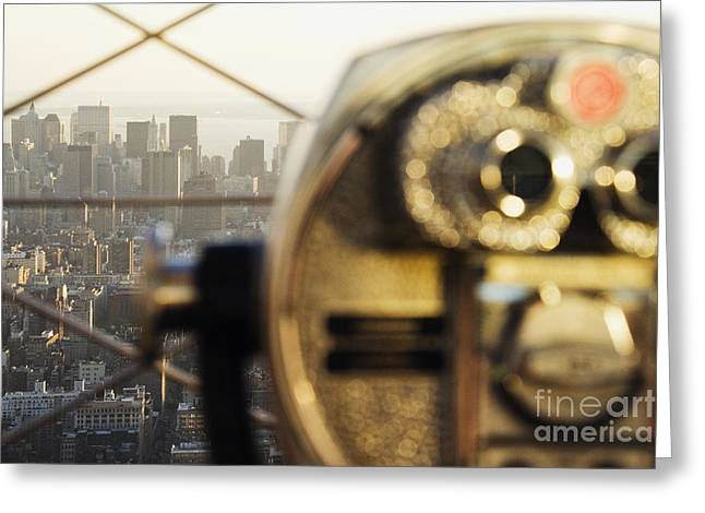 Office Space Photographs Greeting Cards - Downtown Manhattan Behind Coin Operated Binoculars Greeting Card by Jeremy Woodhouse