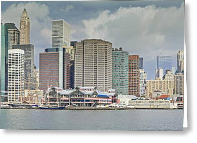 Tone Mapped Greeting Cards - Downtown Manhattan Panorama 3 Greeting Card by Val Black Russian Tourchin