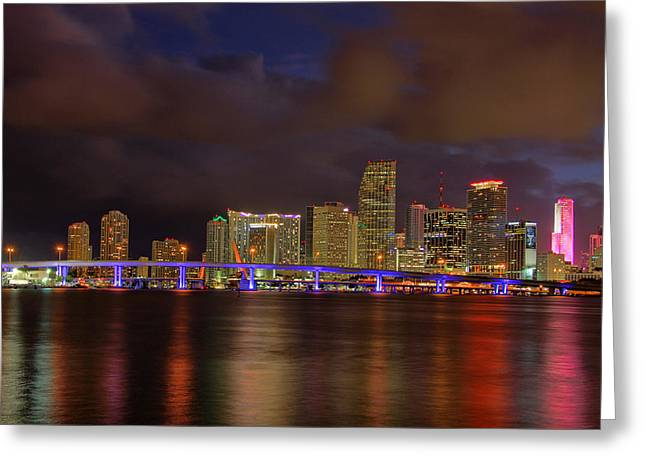 Claudia Domenig Greeting Cards - Downtown Miami at Night Greeting Card by Claudia Domenig