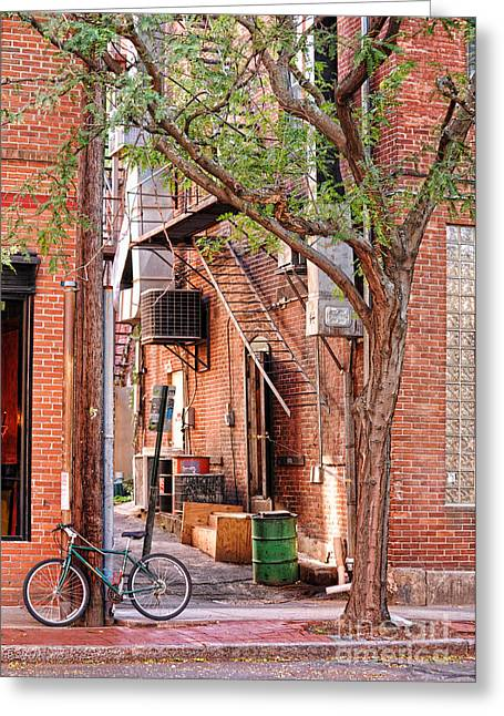 Northampton Greeting Cards - Downtown Northampton - Alley and Bike Greeting Card by HD Connelly