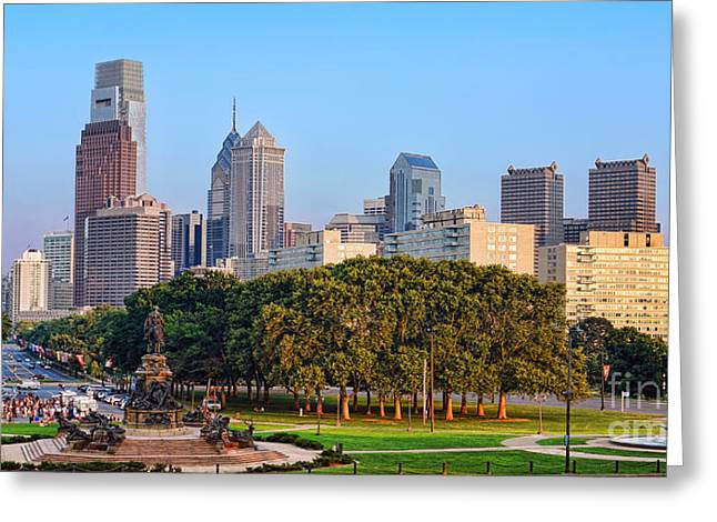 Downtown Philadelphia Skyline Greeting Card by Olivier Le Queinec