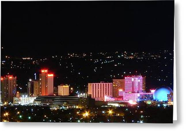 Reno Greeting Cards - Downtown Reno Nevada at Night Greeting Card by Scott McGuire