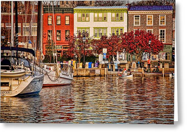 Annapolis Greeting Cards - Downtown Greeting Card by Richard Macquade