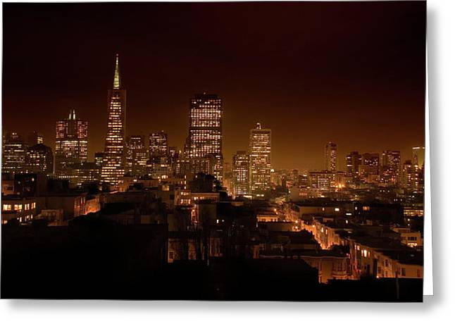 Downtown San Francisco Greeting Cards - Downtown San Francisco at night Greeting Card by Grant Groberg
