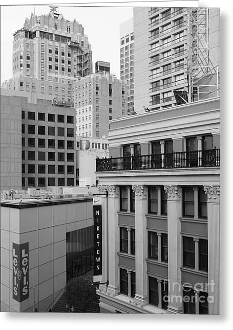 Stockton Street Greeting Cards - Downtown San Francisco Buildings - 5D19323 - Black and White Greeting Card by Wingsdomain Art and Photography