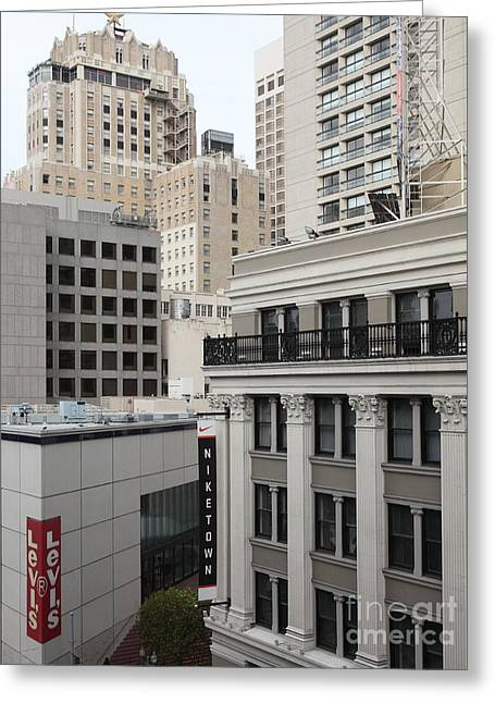 Stockton Street Greeting Cards - Downtown San Francisco Buildings - 5D19323 Greeting Card by Wingsdomain Art and Photography