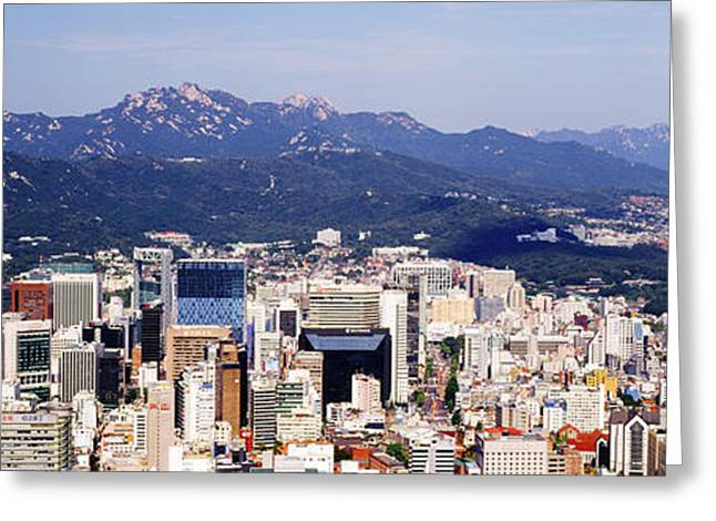 Office Space Greeting Cards - Downtown Seoul Skyline Greeting Card by Jeremy Woodhouse