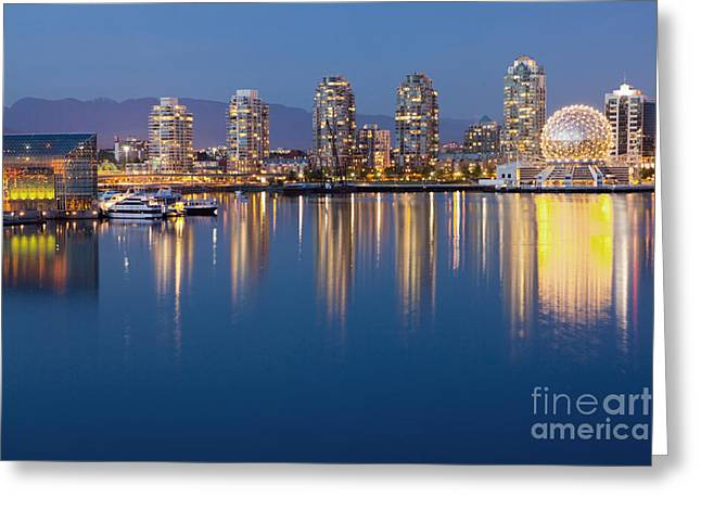 Vancouver Night Scene Greeting Cards - Downtown Vancouver Across the Water Greeting Card by Bryan Mullennix