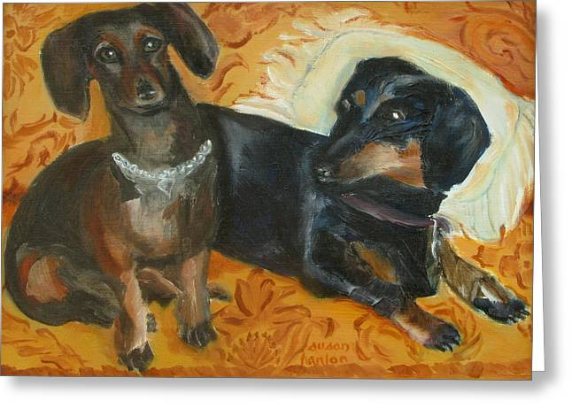 Spunky Greeting Cards - Doxie Duo Greeting Card by Susan Hanlon