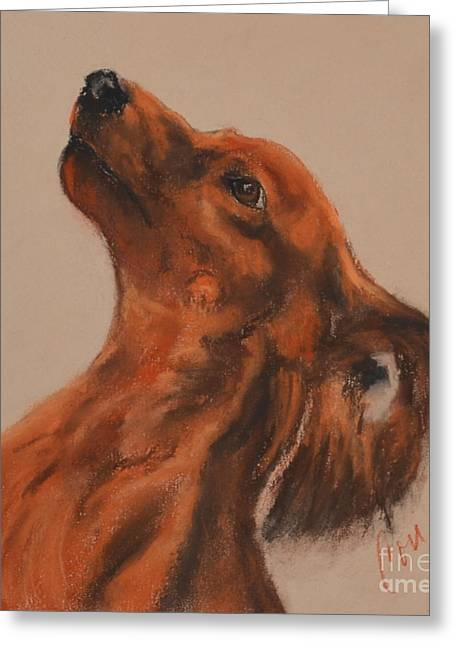 Puppies Pastels Greeting Cards - Doxie With Moxie Greeting Card by Cori Solomon