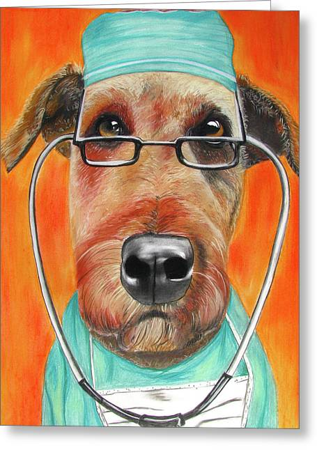 Airedale Terrier Greeting Cards - Dr. Dog Greeting Card by Michelle Hayden-Marsan
