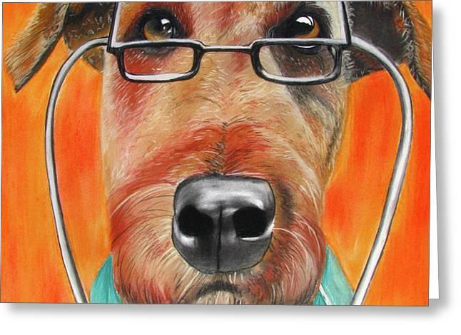 Dr. Dog Greeting Card by Michelle Hayden-Marsan