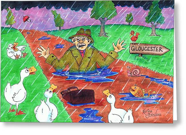 Puddle Drawings Greeting Cards - Dr Foster Greeting Card by Kerina Strevens
