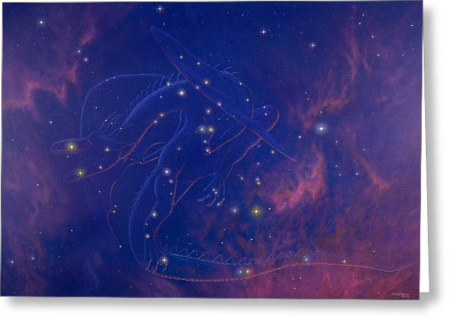 Ursa Minor Greeting Cards - Draco Constellation Greeting Card by Chris Butler