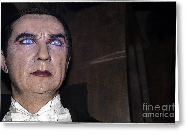 Statue Portrait Photographs Greeting Cards - Dracula Cartoon Greeting Card by Sophie Vigneault