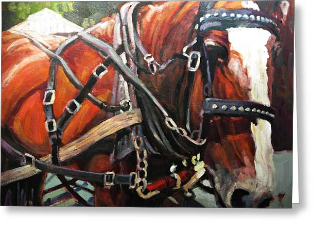 Horses Paintings Greeting Cards - Draft Horse Greeting Card by Brian Simons
