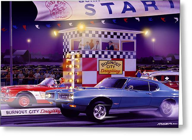 Drag-race Greeting Cards - Drag City Greeting Card by Bruce Kaiser