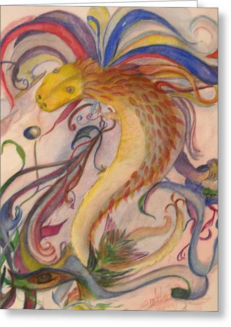 Marian Hebert Greeting Cards - Dragon and Ribbons Greeting Card by Marian Hebert