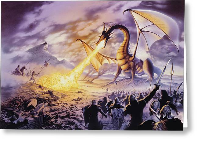 Mythical Greeting Cards - Dragon Battle Greeting Card by The Dragon Chronicles - Steve Re