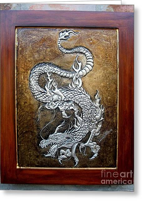 Fantasy Reliefs Greeting Cards - Dragon Greeting Card by Cacaio Tavares