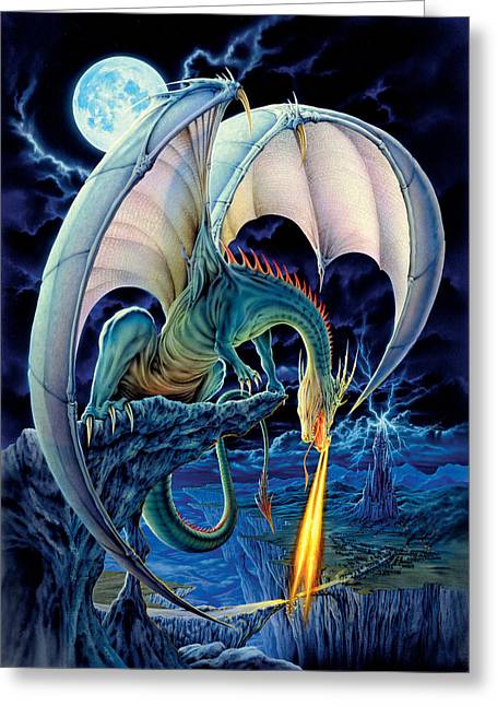 Fantasy Dragon Greeting Cards - Dragon Causeway Greeting Card by The Dragon Chronicles - Robin Ko