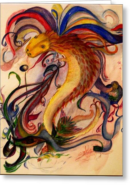 Hebert Greeting Cards - Dragon Chasing Pearl 2 Greeting Card by Marian Hebert