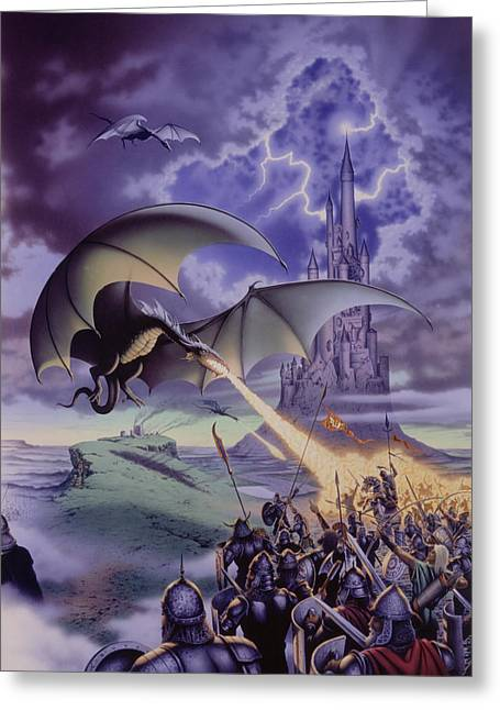 Dragon Greeting Cards - Dragon Combat Greeting Card by The Dragon Chronicles - Steve Re