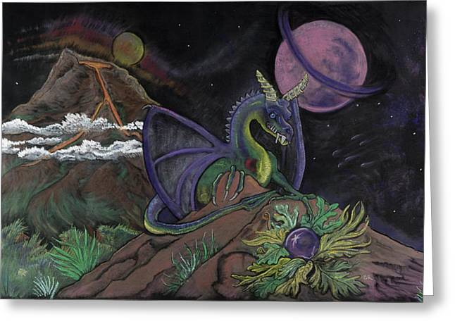 Planets Pastels Greeting Cards - Dragon Dreamz Greeting Card by Robin Hewitt