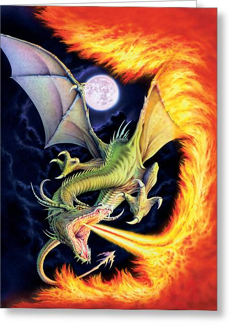 Dragon Greeting Cards - Dragon Fire Greeting Card by The Dragon Chronicles
