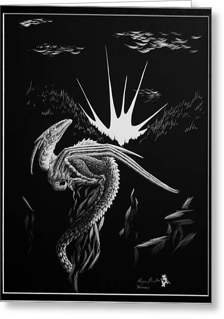 Fantasy Reliefs Greeting Cards - Dragon Rise Greeting Card by Morgan Banks