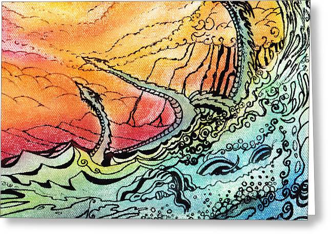 Monster Pastels Greeting Cards - Dragon Sea Greeting Card by Sterling Roskom