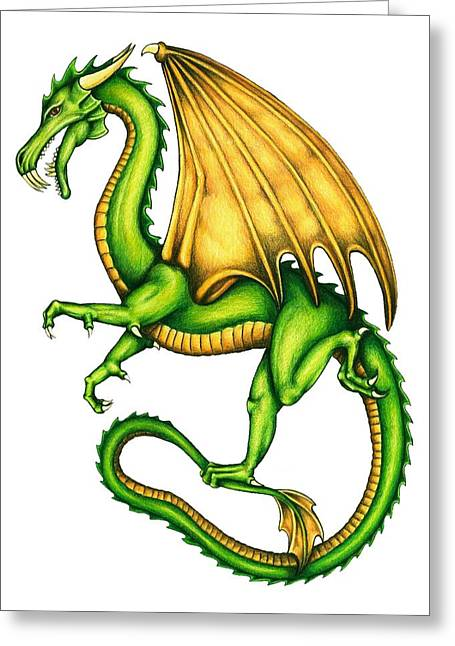 Colour Pencil Greeting Cards - Dragon Greeting Card by Sheryl Unwin
