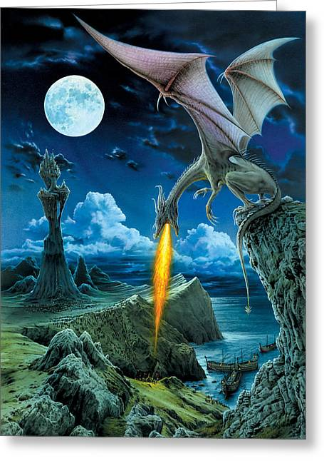 Fantasy Dragon Greeting Cards - Dragon Spit Greeting Card by The Dragon Chronicles - Robin Ko