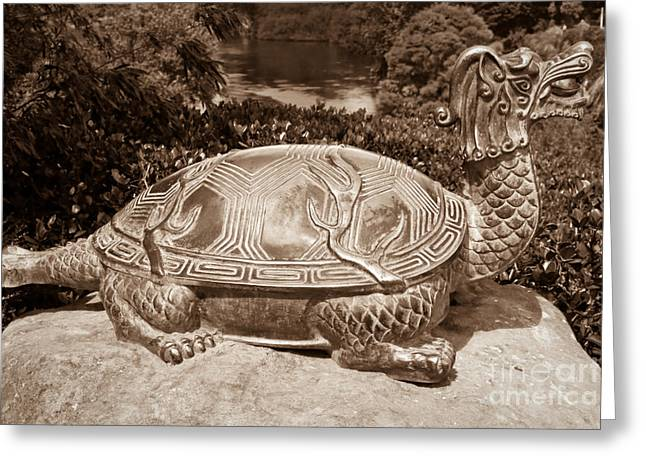 Turtle Sculptures Greeting Cards - Dragon Turtle Figure Greeting Card by Yurix Sardinelly